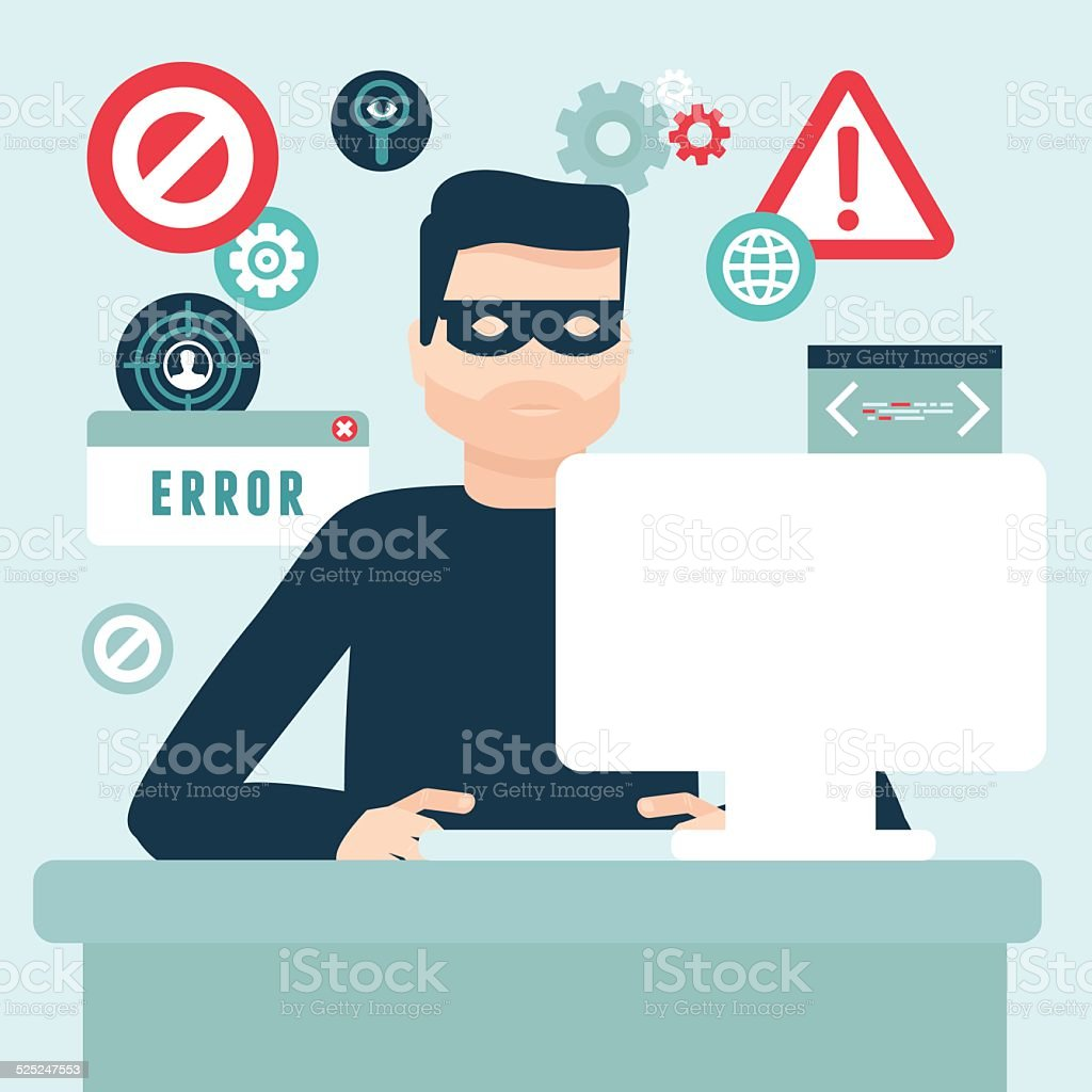 Vector hacker illustration in flat style vector art illustration