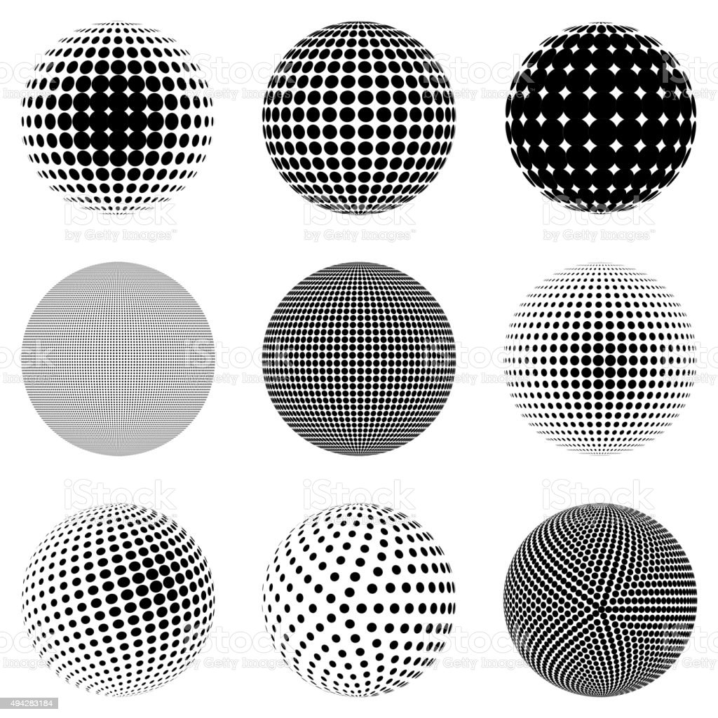 Vector halftone 3d sphere effect vector art illustration