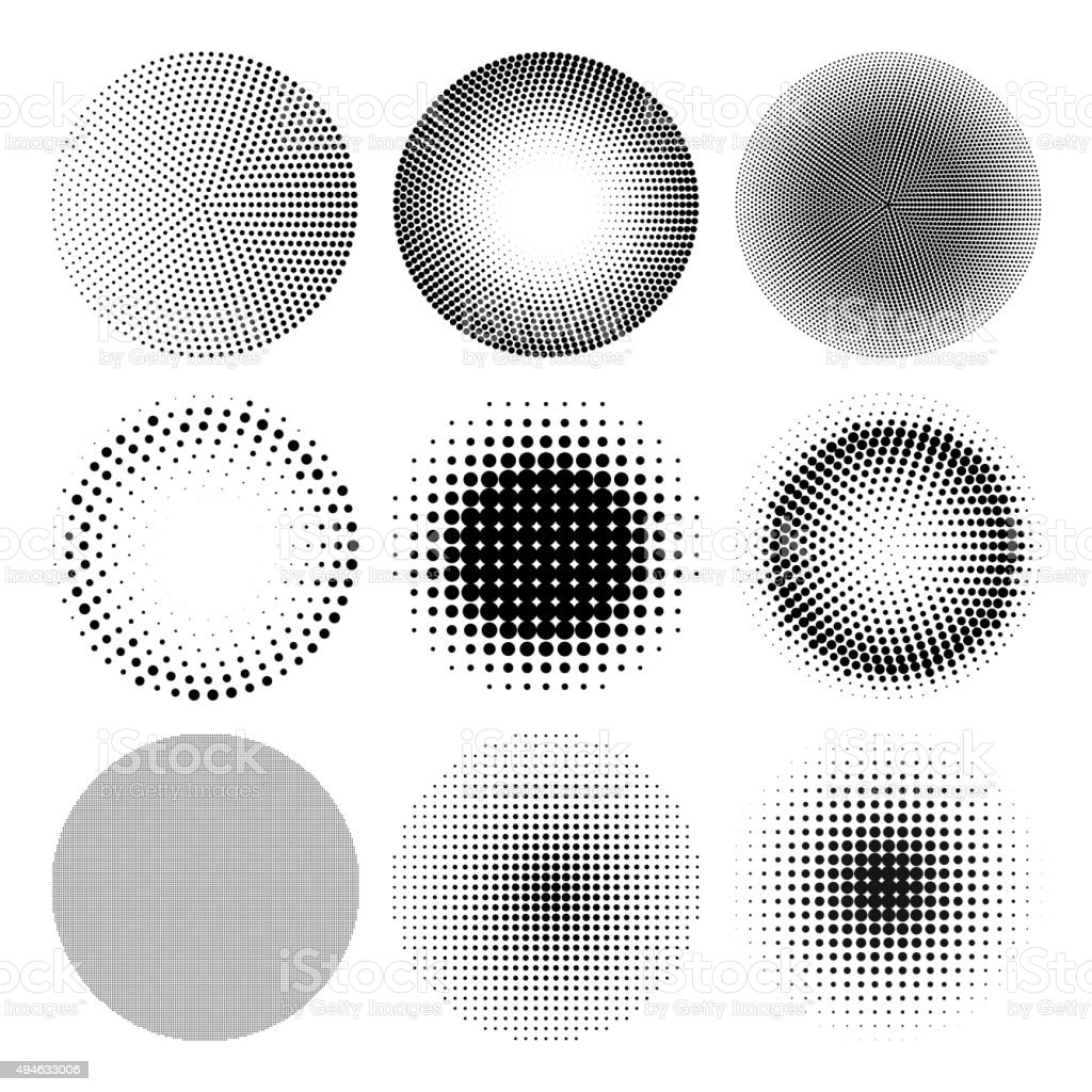 Vector halftone circle effect vector art illustration