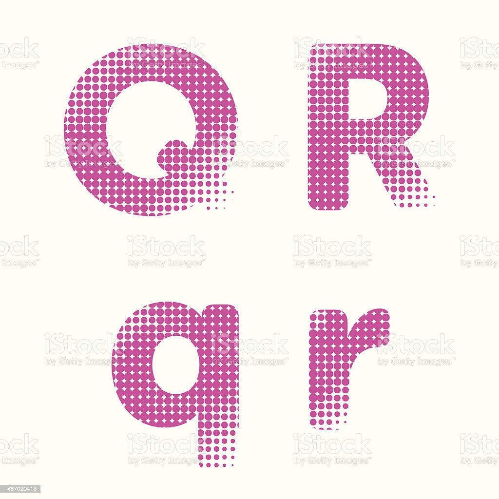 Vector halftone raster alphabet letters royalty-free stock vector art