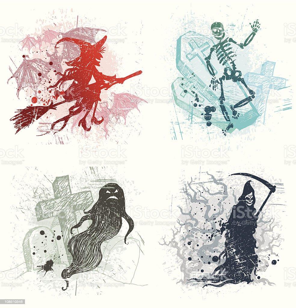 Vector Halloween hand drawn illustrations with evil spirits royalty-free stock vector art
