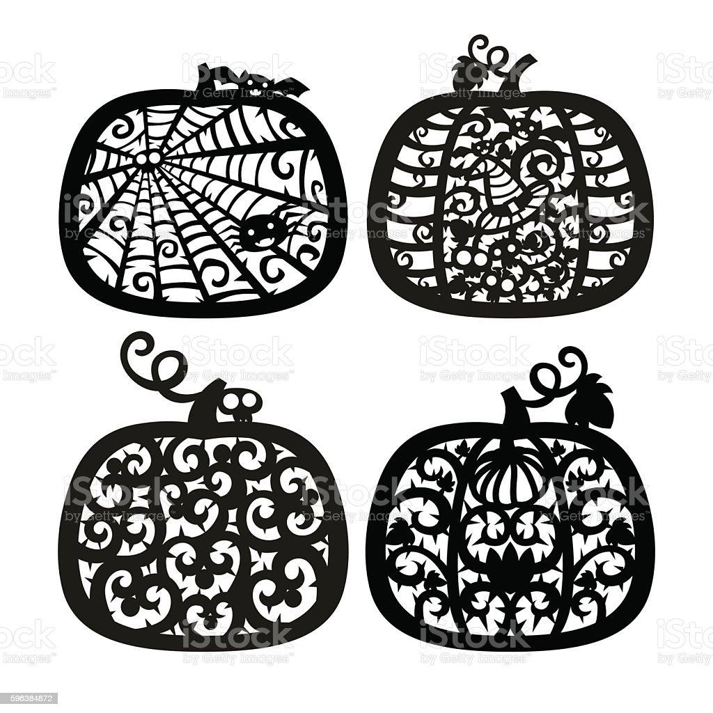 Vector halloween Jack o' Lantern pumpkin frame. vector art illustration