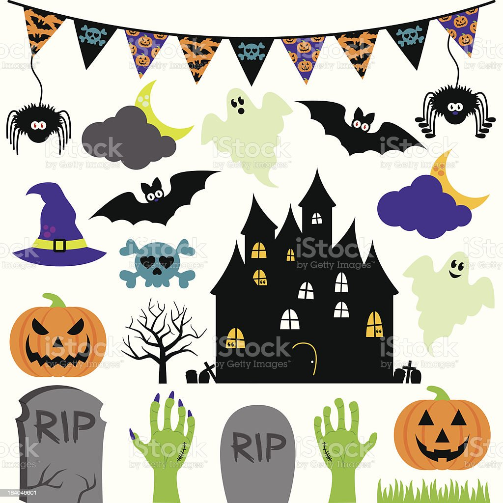 Vector Halloween set with scary and cute elements vector art illustration