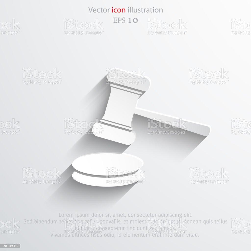 Vector hammer judge web icon. vector art illustration