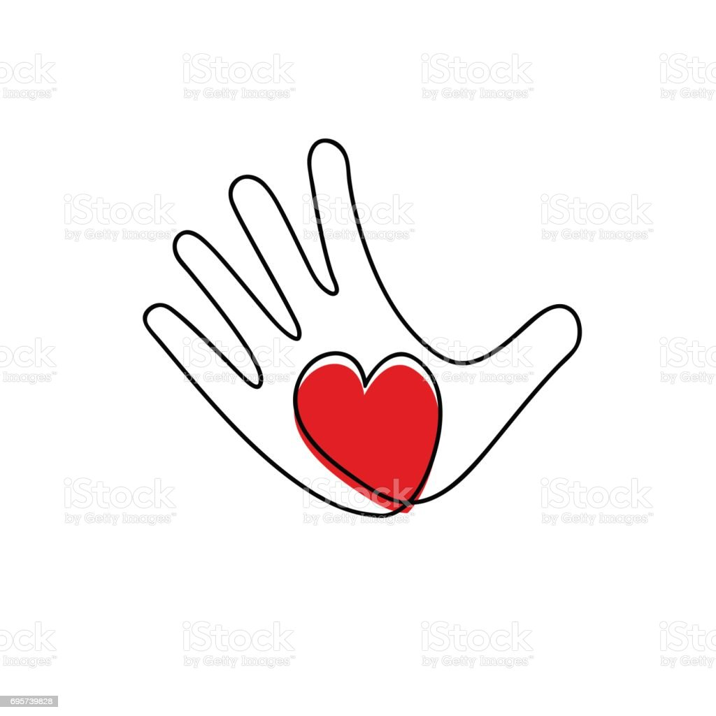 Vector hand and heart, aid and voluntary concept vector art illustration