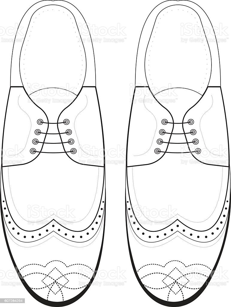 Vector hand drawing illustration with men fashion shoes. vector art illustration