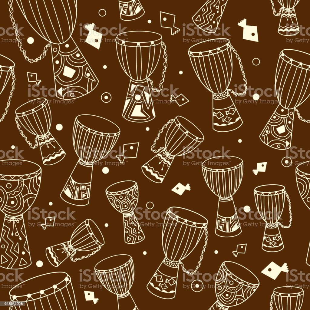 Vector hand drawn african drums djembe seamless pattern vector art illustration