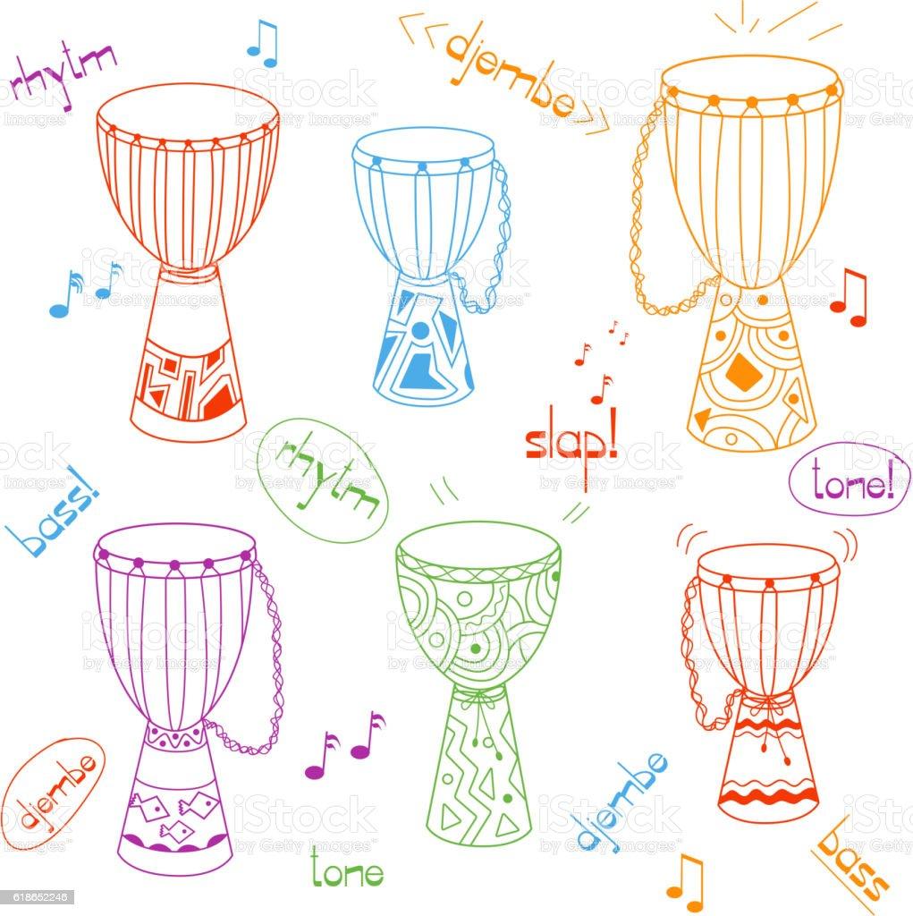 Vector hand drawn african drums djembe set vector art illustration