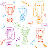 Vector hand drawn african drums djembe set