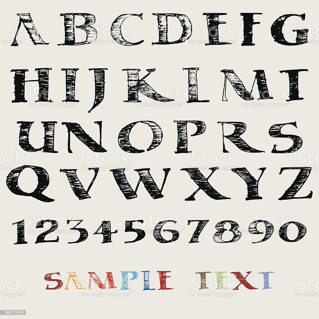 Vector hand drawn alphabet royalty-free stock vector art