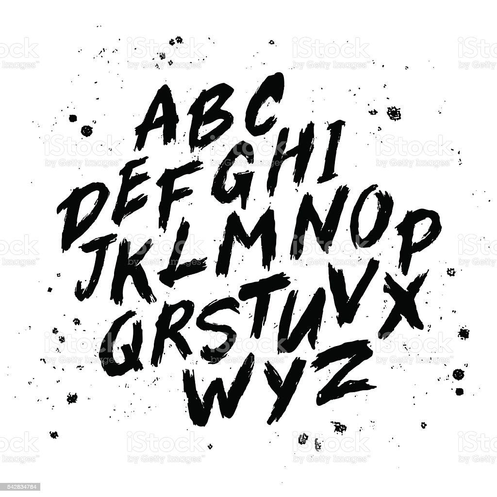 Vector hand drawn alphabet vector art illustration