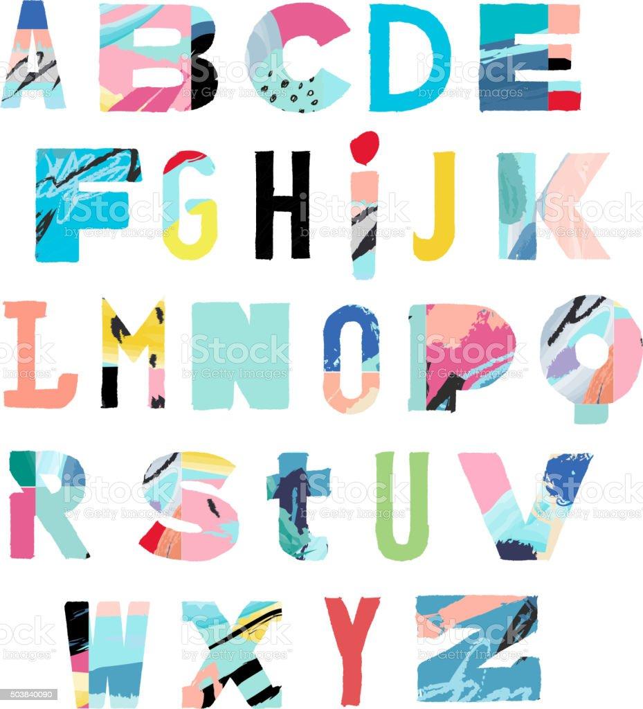 Vector Hand Drawn Artistic Alphabet .Typeface. Font. Isolated vector art illustration
