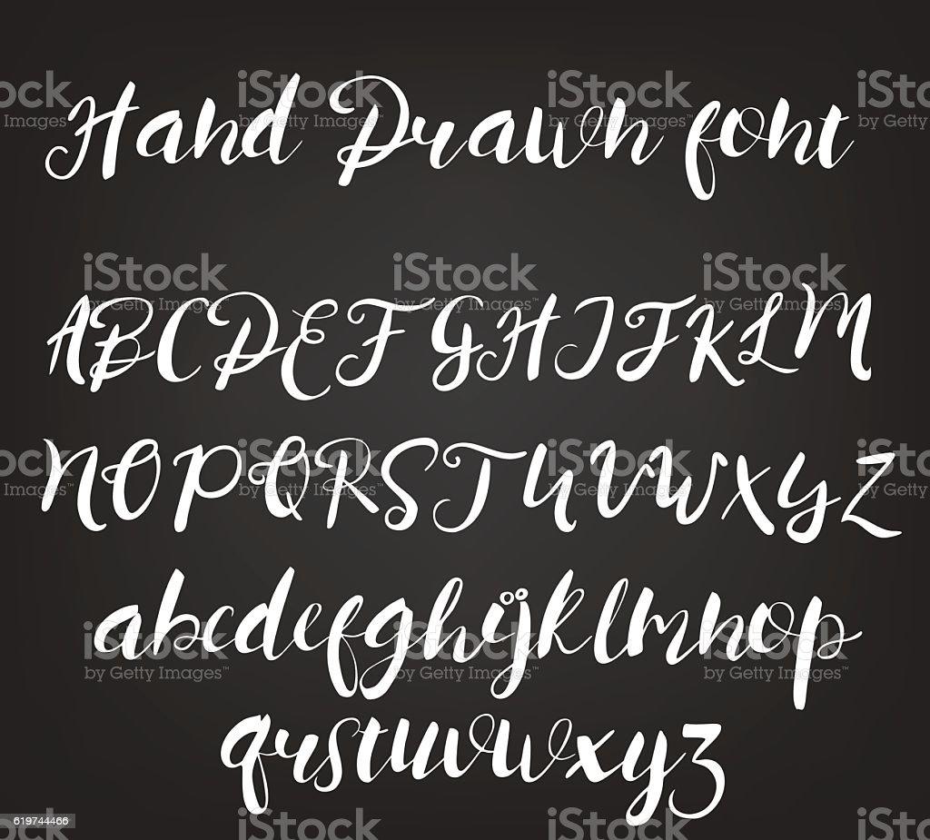 Vector hand drawn calligraphic font. Handmade calligraphy tattoo alphabet. ABC vector art illustration