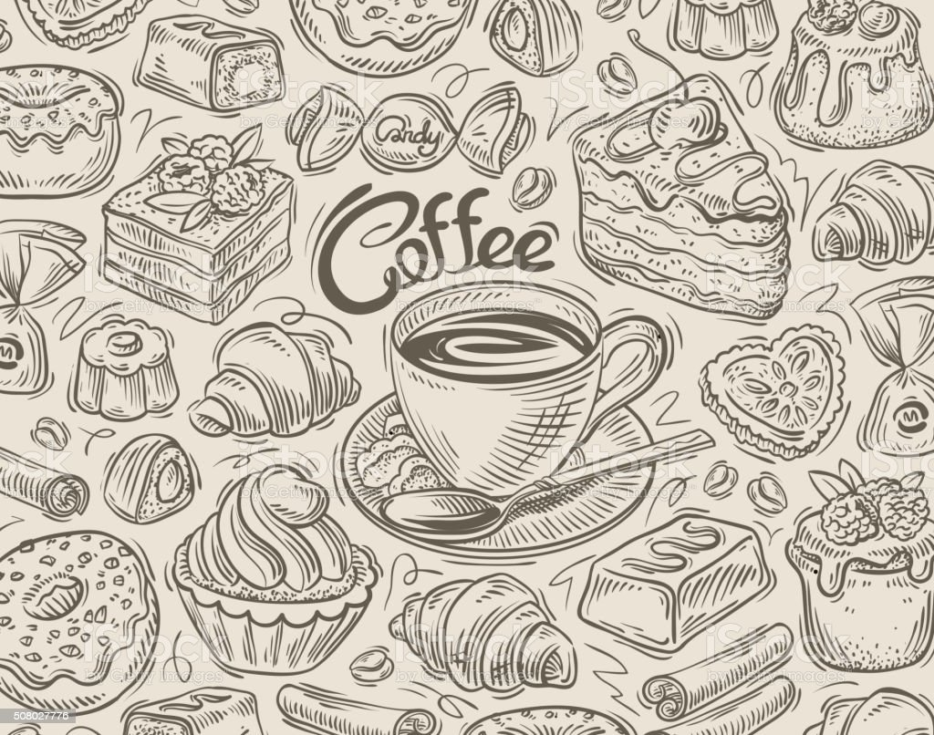 vector hand drawn dessert, coffee sketch and food doodle vector art illustration