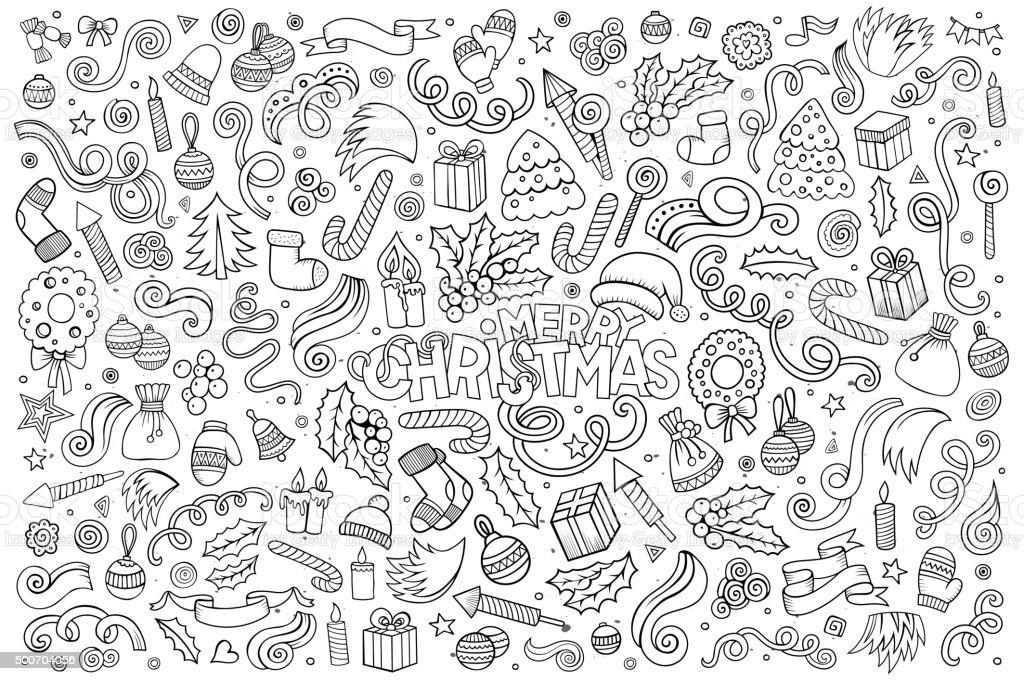 Vector hand drawn Doodle cartoon set of objects vector art illustration