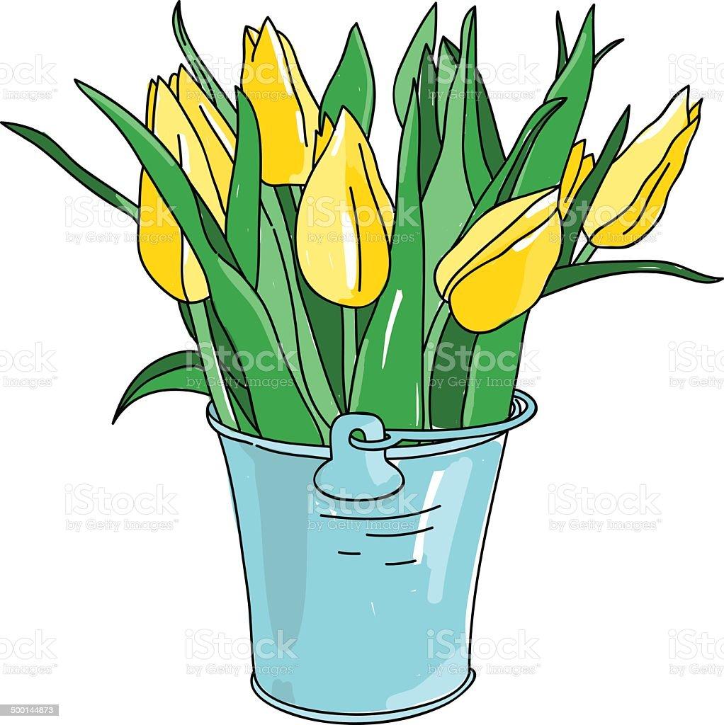 Vector Hand Drawn Flowers Tulips In Bucket Stock Vector Art