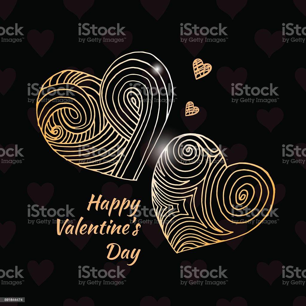 Vector hand drawn hearts vector art illustration