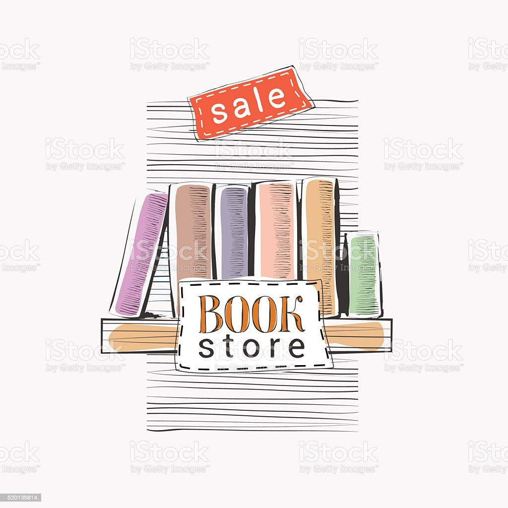 Vector hand drawn illustration for bookstore sale vector art illustration