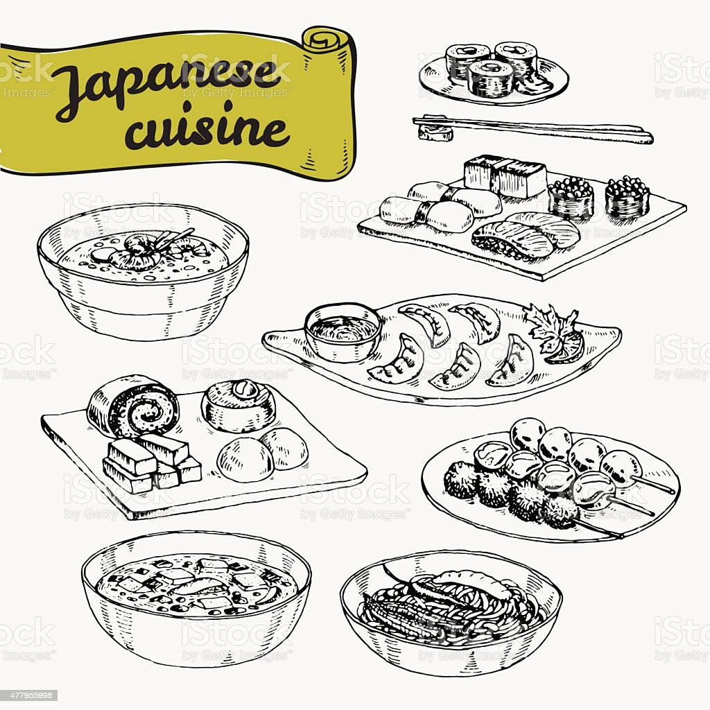 Vector hand drawn illustration with set dishes of Japanese cuisine vector art illustration