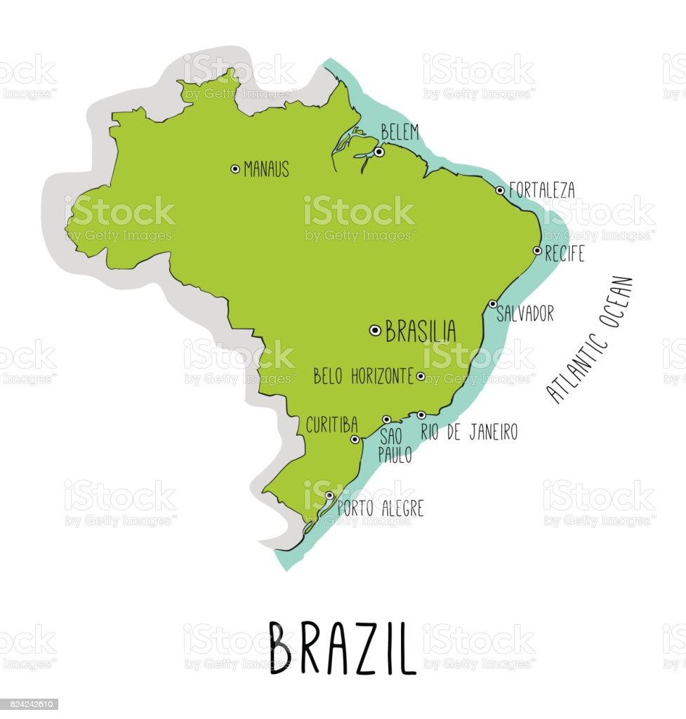 Vector hand drawn map of Brazil with main cities. vector art illustration