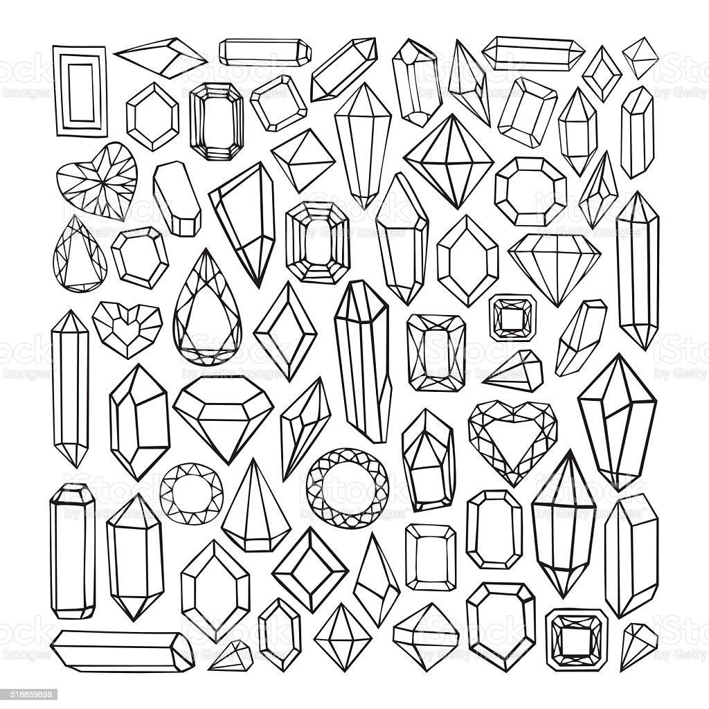 Vector hand drawn modern set of crystals vector art illustration