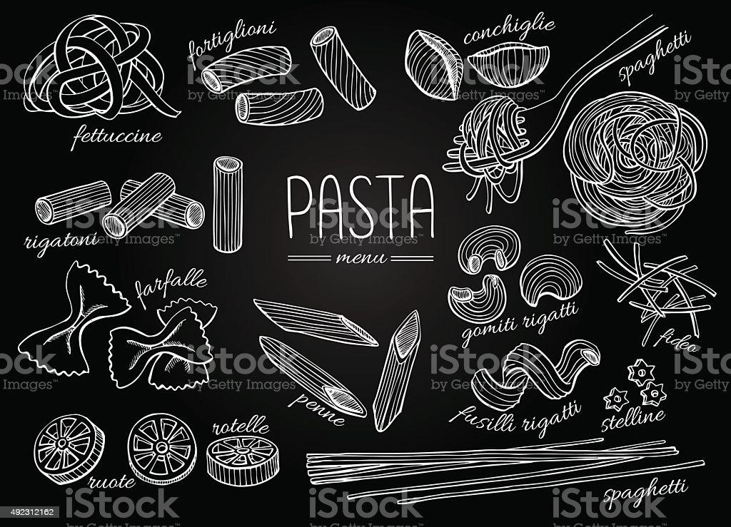 Vector hand drawn pasta menu. Vintage chalkborad line art illust vector art illustration