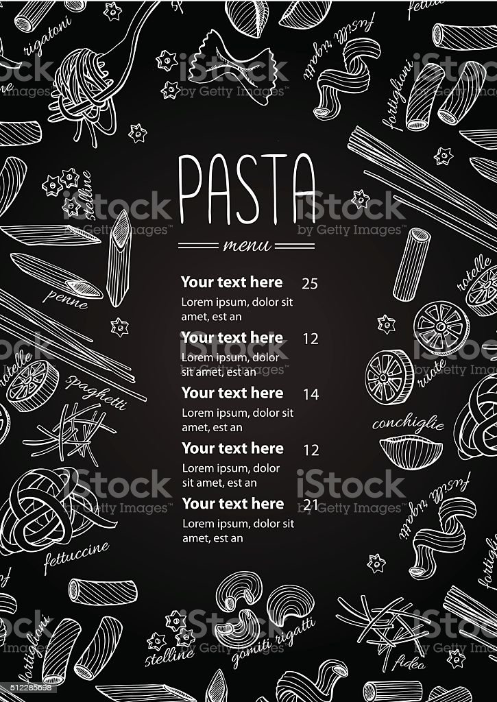 Vector hand drawn pasta menu. Vintage  line art illustration vector art illustration