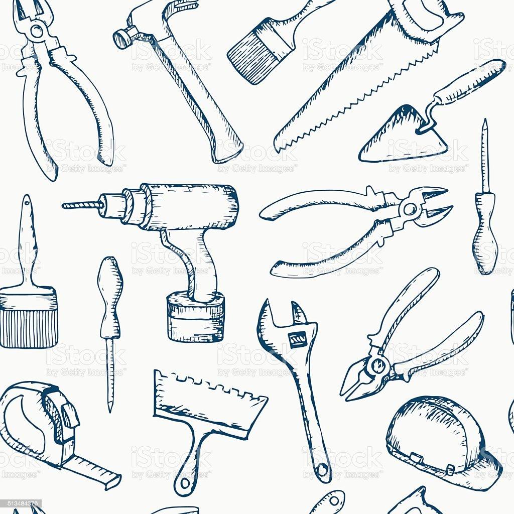 Vector hand drawn repair tools seamless pattern. vector art illustration
