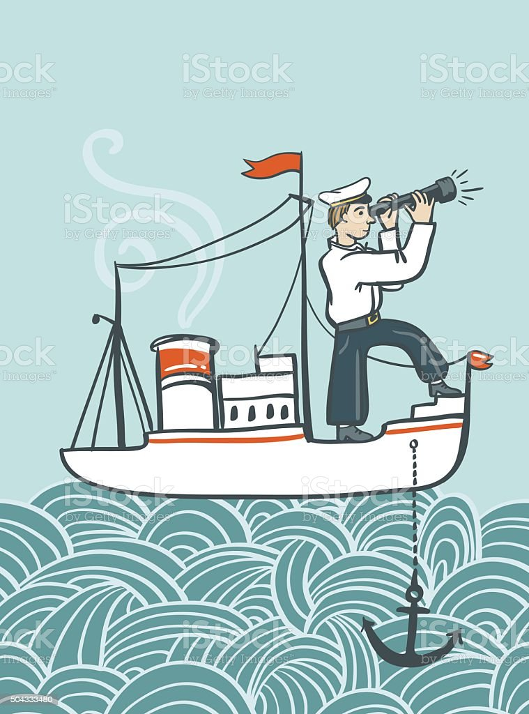 Vector hand drawn  sea poster with ship, vector art illustration