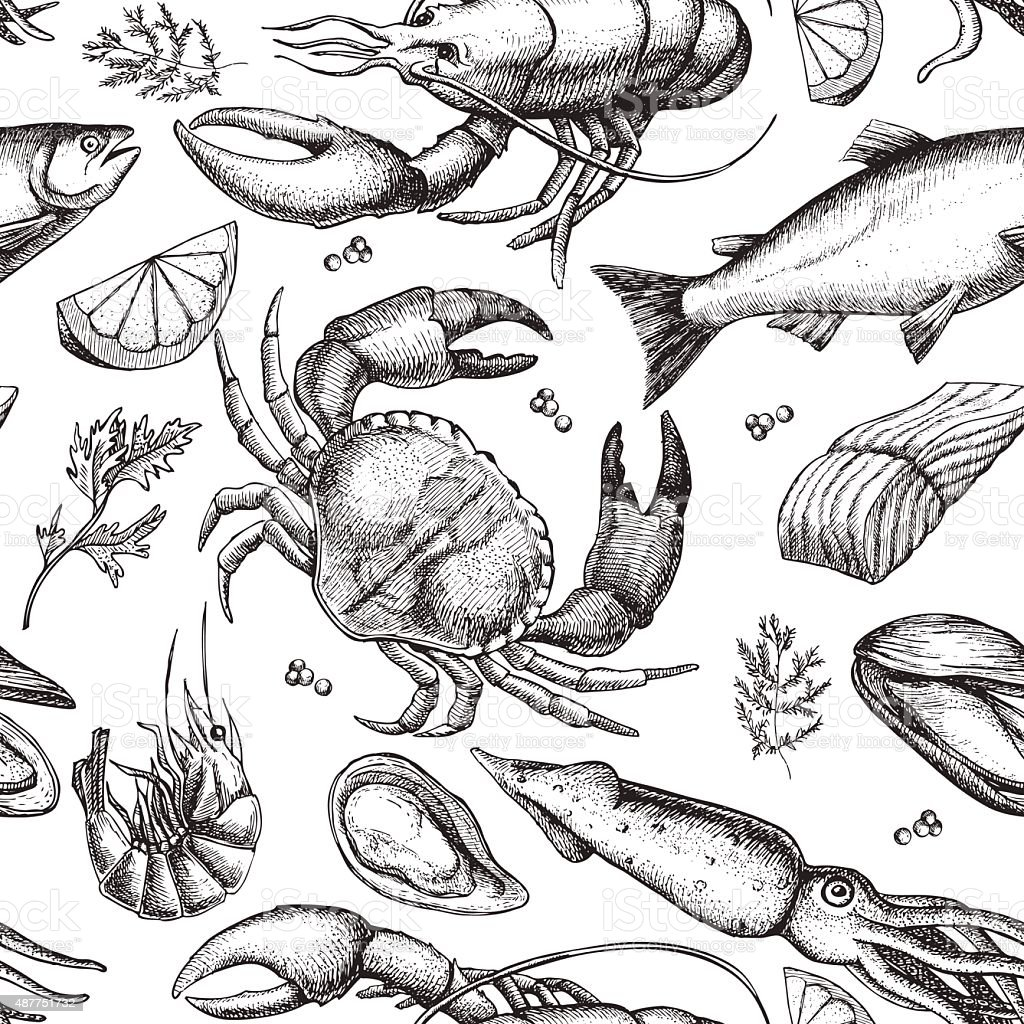 Vector hand drawn seafood pattern. Vintage illustration vector art illustration