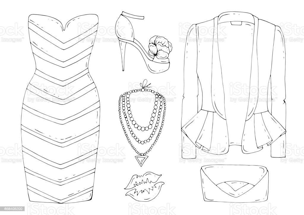 Vector hand drawn set of fashionable women's clothing vector art illustration