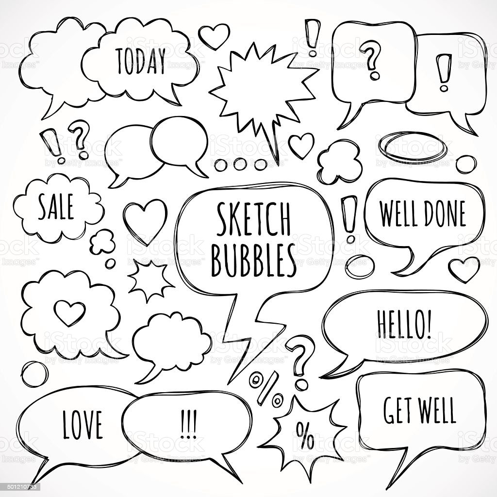 Vector hand drawn set of sketch speech bubbles and clouds vector art illustration