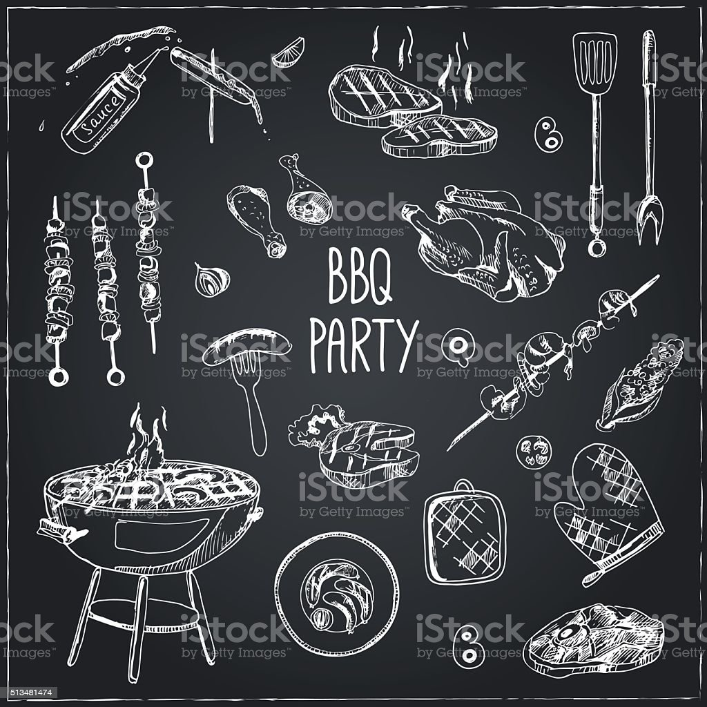 Vector hand drawn set with barbecue tools. vector art illustration