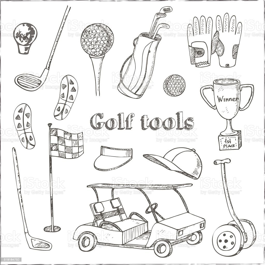 Vector hand drawn set with Golf tools. vector art illustration