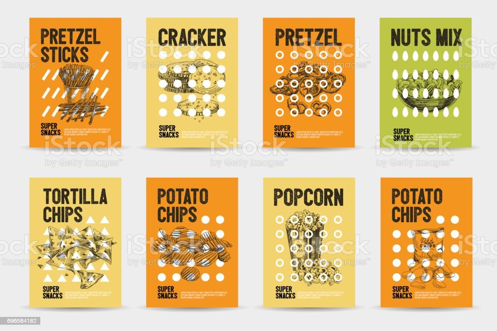 Vector hand drawn snack and junk food cards set. vector art illustration