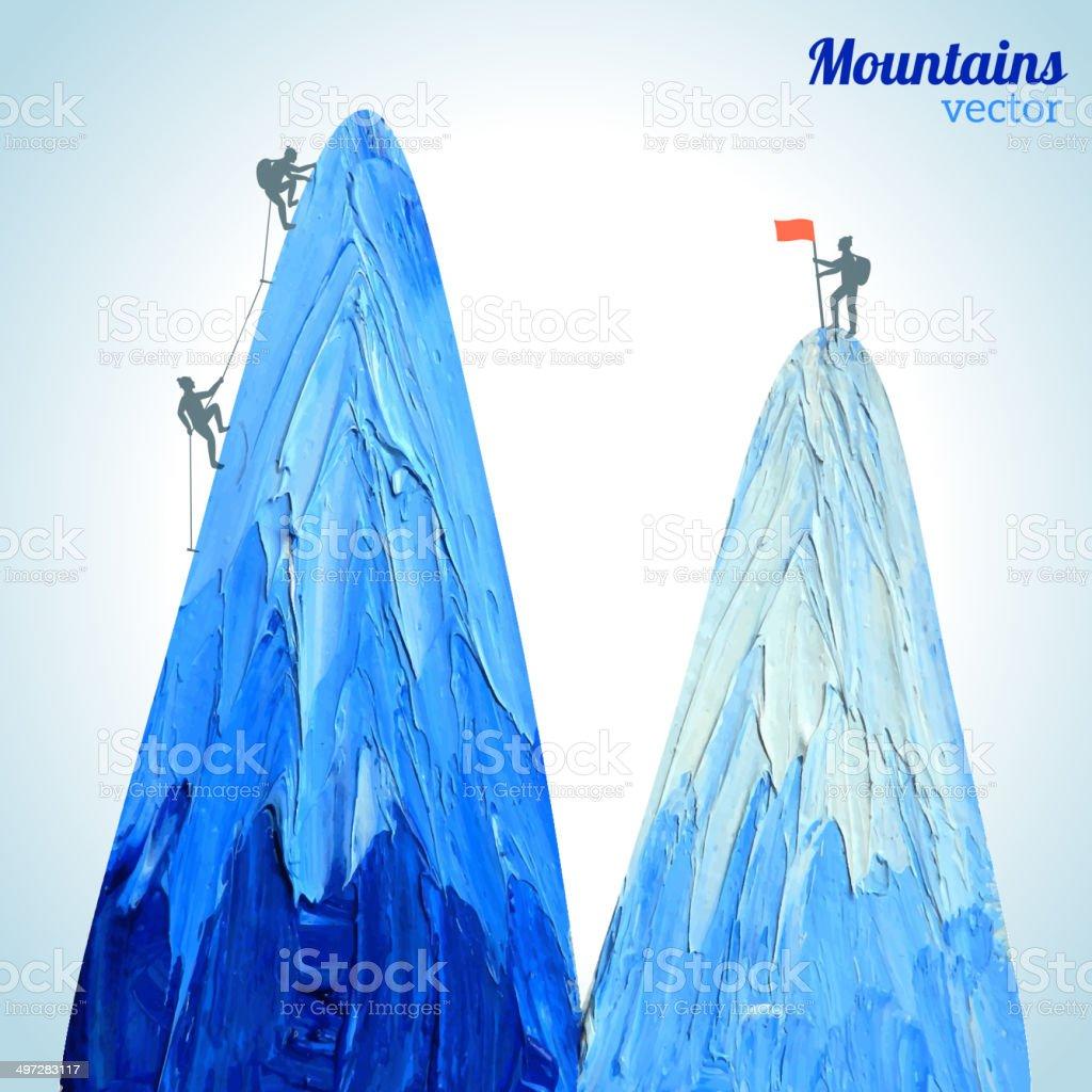 Vector hand drawn snow peak vector art illustration