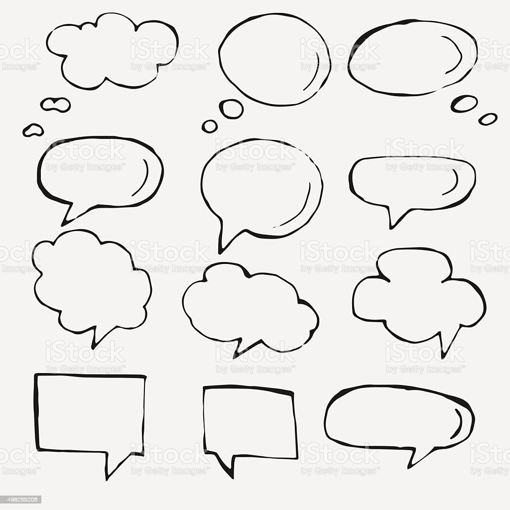 Vector hand drawn speech bubbles on white vector art illustration