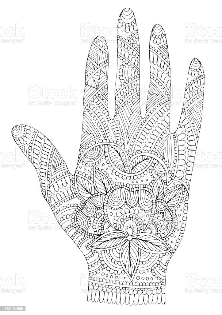 Vector hand drawn tattooed arm with mehendi patterns vector art illustration