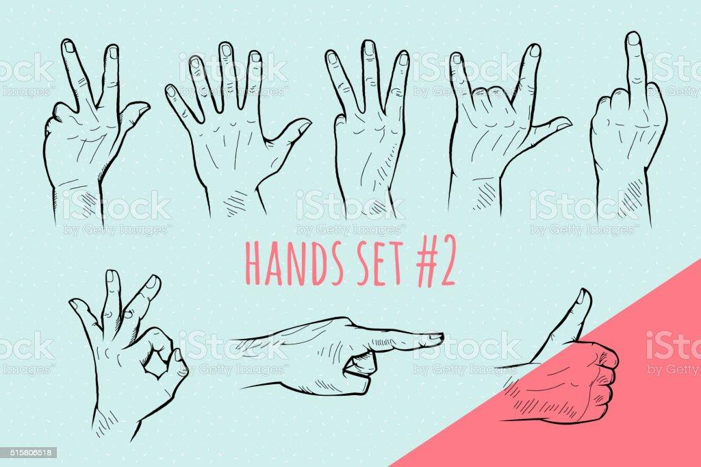 Vector hand gesture set. Pencil drawn sketch. vector art illustration