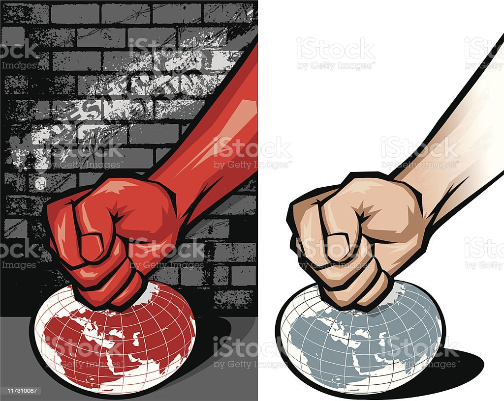 vector hand & globe vector art illustration