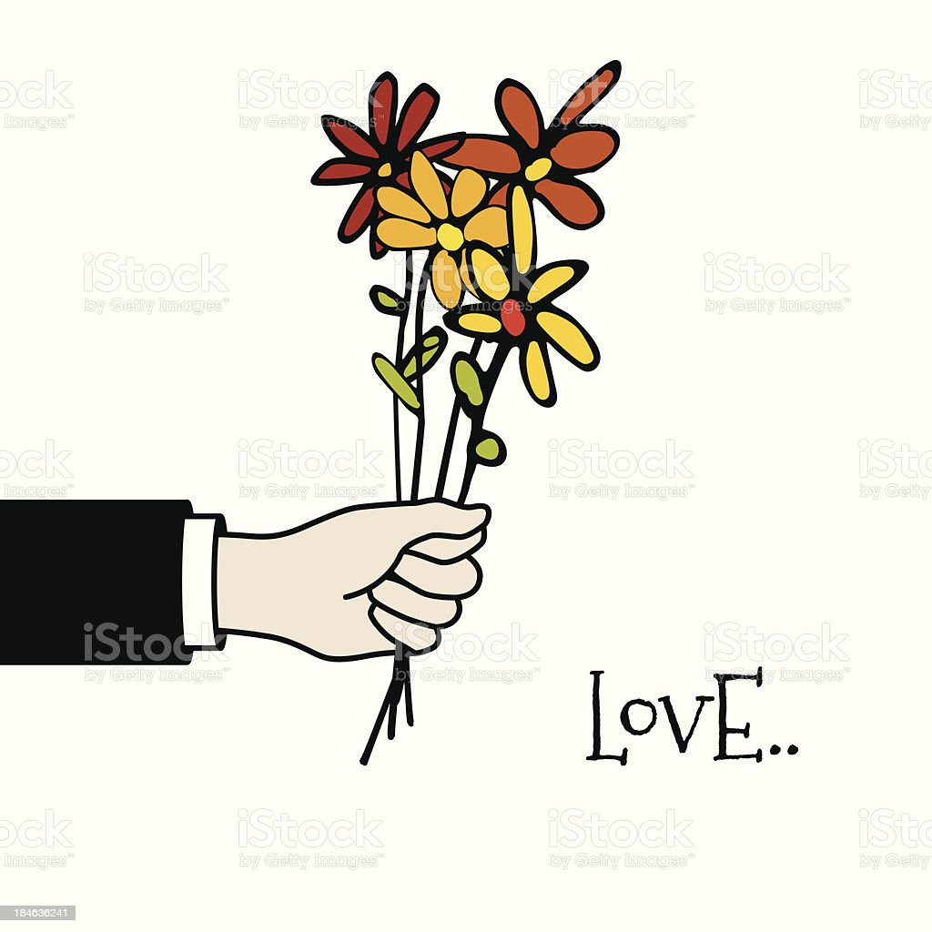 vector hand holding a bunch of flowers vector art illustration