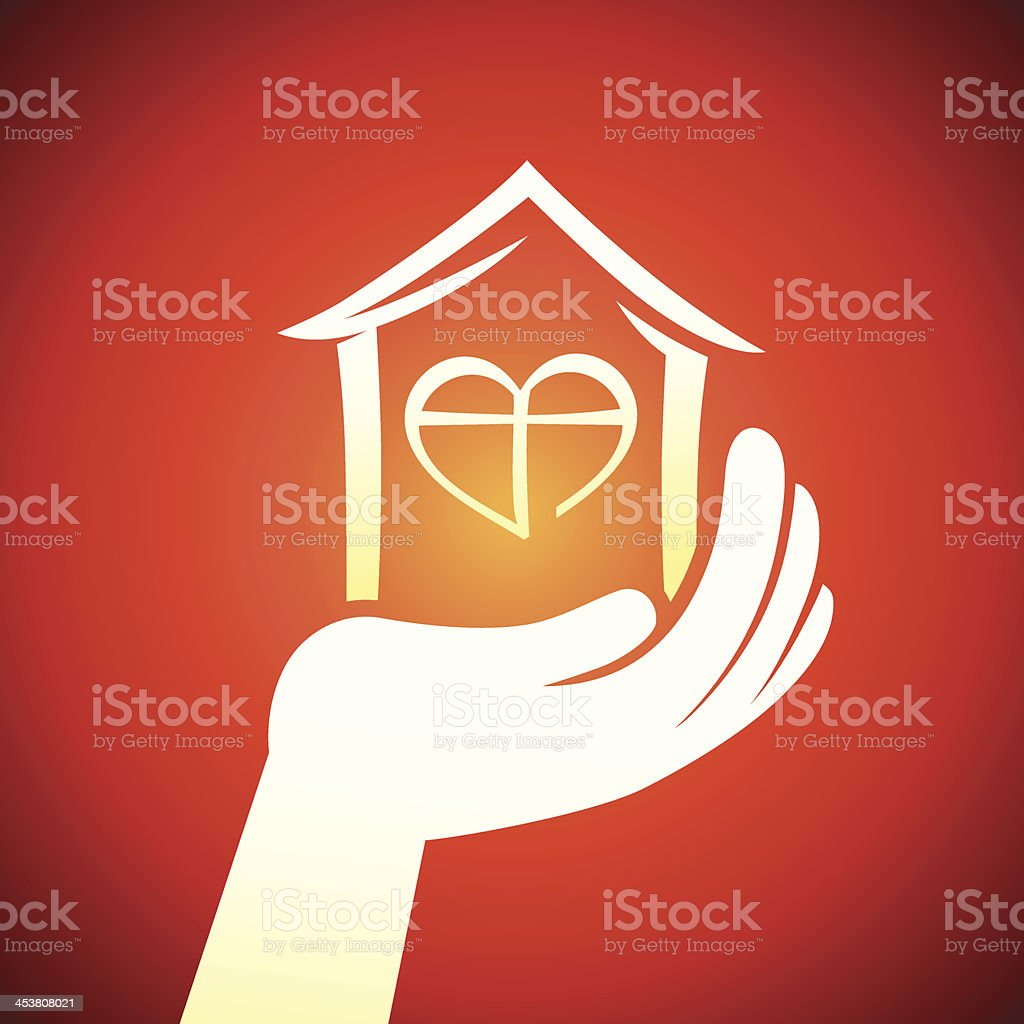 Vector hand holding house royalty-free stock vector art