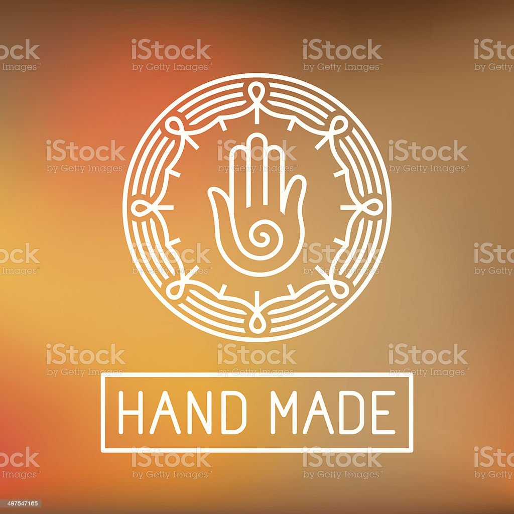 Vector hand made label in outline trendy style vector art illustration