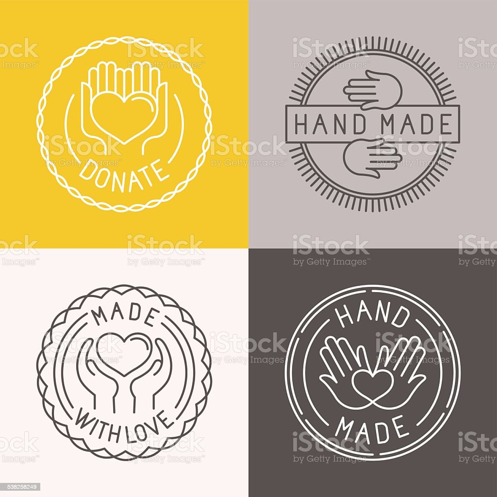 Vector hand made labels and badges vector art illustration