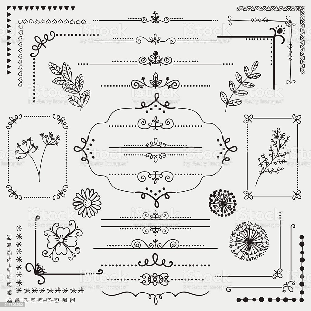 Vector Hand Sketched Rustic Design Elements, Dividers vector art illustration
