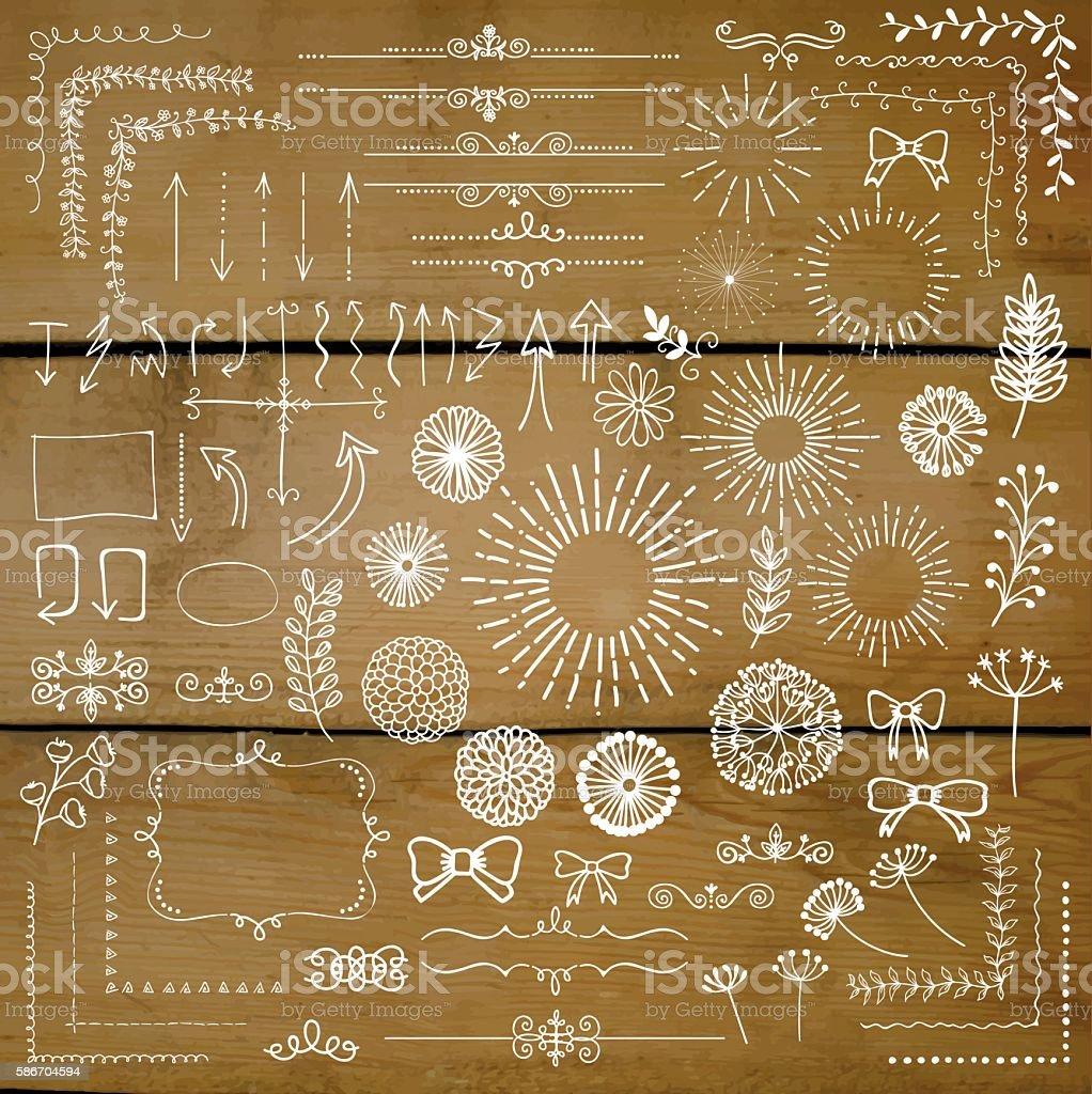Vector Hand Sketched Rustic Design Elements, Dividers vector art illustration