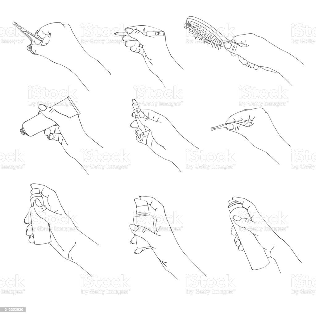 vector hand with cosmetic accessories vector art illustration