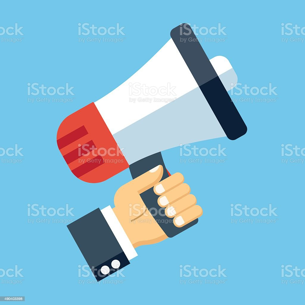 Vector hand with megaphone icon vector art illustration