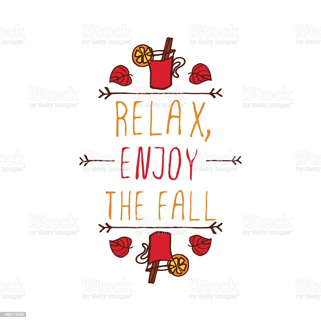 Vector handdrawn autumn element with text vector art illustration