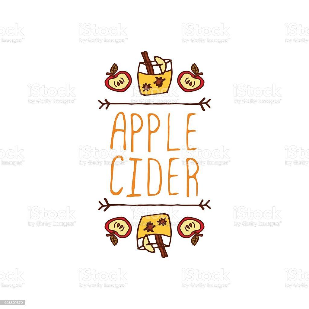 Vector handdrawn autumn element with text vector art illustration
